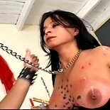 Pain games  brunette is torture to the extreme with dozens of clothespins on her tits. Brunette is tormented to the extreme with dozens of clothespins on her boobs