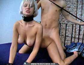 Slut for cock  blonde skank is collared and have sexual intercourse massive. Blonde Skank is collared and make love rough