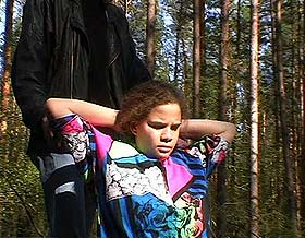 Outdoor humiliation  heavy dumb fatty is stripped and fuck in the forest. Great dumb fatty is stripped and make love in the forest