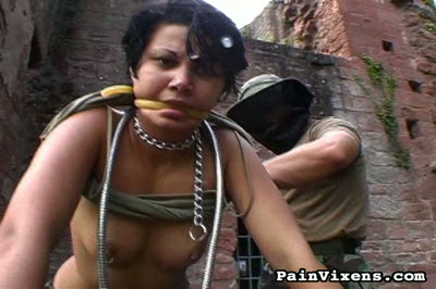 Inhuman punishment  army girl is chanied and manhandled by her heavy superior. Army girl is chanied and manhandled by her hard superior