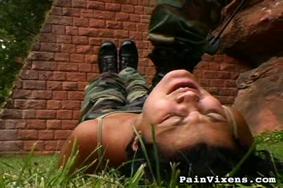 Drill sergeant  hard instructor physically dominates his weak trainee. Cruel instructor physically dominates his weak trainee