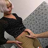 Pleasing her master. A blonde slave is roughed up at the hands of her perverted task master