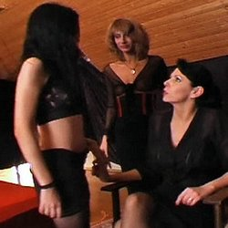 Lezdom training. Lascivious dominatrix Daria punishes two sluts in the dungeon