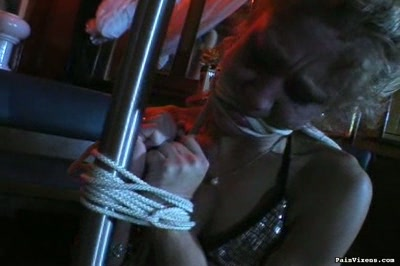 Bound and fondled. Blonde servile Kelly gets roped up and fondled