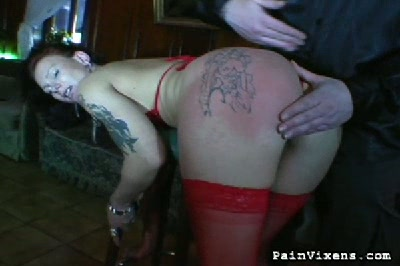 Milf gets whipped. Lusty Brunette gets the lash across her breasts and back